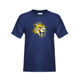 Youth Navy T Shirt-Sabercat Head