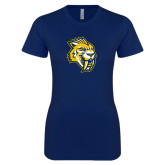 Next Level Ladies SoftStyle Junior Fitted Navy Tee-Sabercat Head