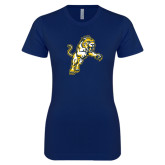 Next Level Ladies SoftStyle Junior Fitted Navy Tee-Sabercat Lunge
