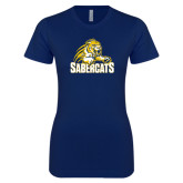 Next Level Ladies SoftStyle Junior Fitted Navy Tee-Sabercat Swoosh