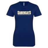 Next Level Ladies SoftStyle Junior Fitted Navy Tee-Sabercats Maranatha Word Mark