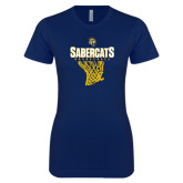Next Level Ladies SoftStyle Junior Fitted Navy Tee-Basketball Design