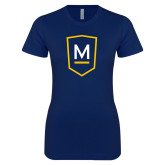 Next Level Ladies SoftStyle Junior Fitted Navy Tee-Maranatha Baptist University Shield