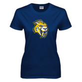 Ladies Navy T Shirt-Sabercat Head