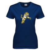 Ladies Navy T Shirt-Sabercat Lunge