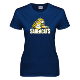 Ladies Navy T Shirt-Sabercat Swoosh