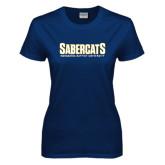 Ladies Navy T Shirt-Sabercats Maranatha Word Mark