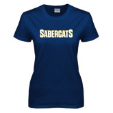 Ladies Navy T Shirt-Sabercats Word Mark