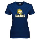 Ladies Navy T Shirt-Sabercat Stacked