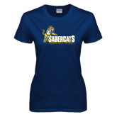 Ladies Navy T Shirt-Sabercats With Lunge