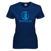 Ladies Navy T Shirt-Maranatha Crusader Mark