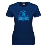 Ladies Navy T Shirt-Maranatha Saders