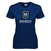 Ladies Navy T Shirt-Maranatha Baptist University