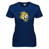 Ladies Navy T Shirt-Sabercat Head Distressed