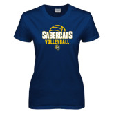 Ladies Navy T Shirt-Volleyball Design