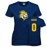 Ladies Navy T Shirt-Sabercat Head, Custom Tee w/ Name and #
