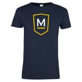 Ladies Navy T Shirt-Maranatha Baptist University Shield