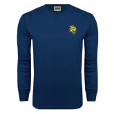 Navy Long Sleeve T Shirt-Sabercat Head