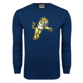 Navy Long Sleeve T Shirt-Sabercat Lunge