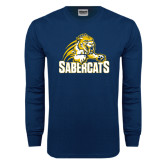 Navy Long Sleeve T Shirt-Sabercat Swoosh