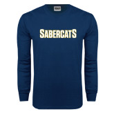 Navy Long Sleeve T Shirt-Sabercats Word Mark