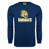 Navy Long Sleeve T Shirt-Sabercat Stacked