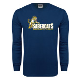 Navy Long Sleeve T Shirt-Sabercats With Lunge