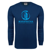 Navy Long Sleeve T Shirt-Maranatha Crusader Mark