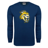 Navy Long Sleeve T Shirt-Sabercat Head Distressed