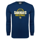 Navy Long Sleeve T Shirt-Volleyball Design