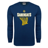 Navy Long Sleeve T Shirt-Basketball Design