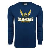 Navy Long Sleeve T Shirt-Cross Country Design