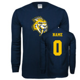 Navy Long Sleeve T Shirt-Sabercat Head, Custom Tee w/ Name and #