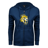 ENZA Ladies Navy Fleece Full Zip Hoodie-Sabercat Head
