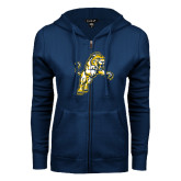 ENZA Ladies Navy Fleece Full Zip Hoodie-Sabercat Lunge