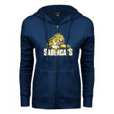 ENZA Ladies Navy Fleece Full Zip Hoodie-Sabercat Swoosh
