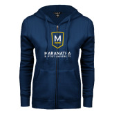 ENZA Ladies Navy Fleece Full Zip Hoodie-Maranatha Baptist University