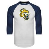 White/Navy Raglan Baseball T-Shirt-Sabercat Head