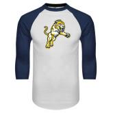 White/Navy Raglan Baseball T-Shirt-Sabercat Lunge