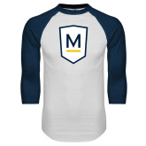 White/Navy Raglan Baseball T Shirt-Maranatha Baptist University Shield