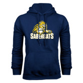 Navy Fleece Hood-Sabercat Swoosh