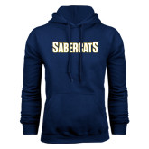 Navy Fleece Hood-Sabercats Word Mark