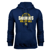 Navy Fleece Hood-Volleyball Design