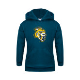 Youth Navy Fleece Hood-Sabercat Head
