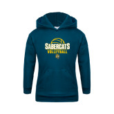 Youth Navy Fleece Hoodie-Volleyball Design