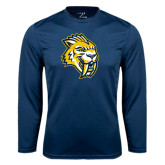 Syntrel Performance Navy Longsleeve Shirt-Sabercat Head