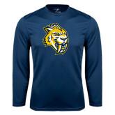 Performance Navy Longsleeve Shirt-Sabercat Head