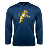 Performance Navy Longsleeve Shirt-Sabercat Lunge