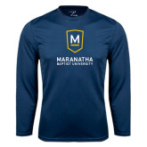 Performance Navy Longsleeve Shirt-Maranatha Baptist University