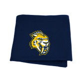 Navy Sweatshirt Blanket-Sabercat Head